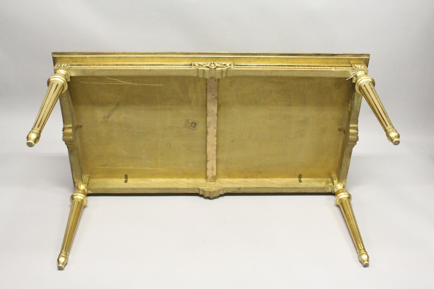 A 20TH CENTURY DECORATIVE GILTWOOD LOW TABLE, with floral painted decoration, on turned tapering - Image 5 of 6