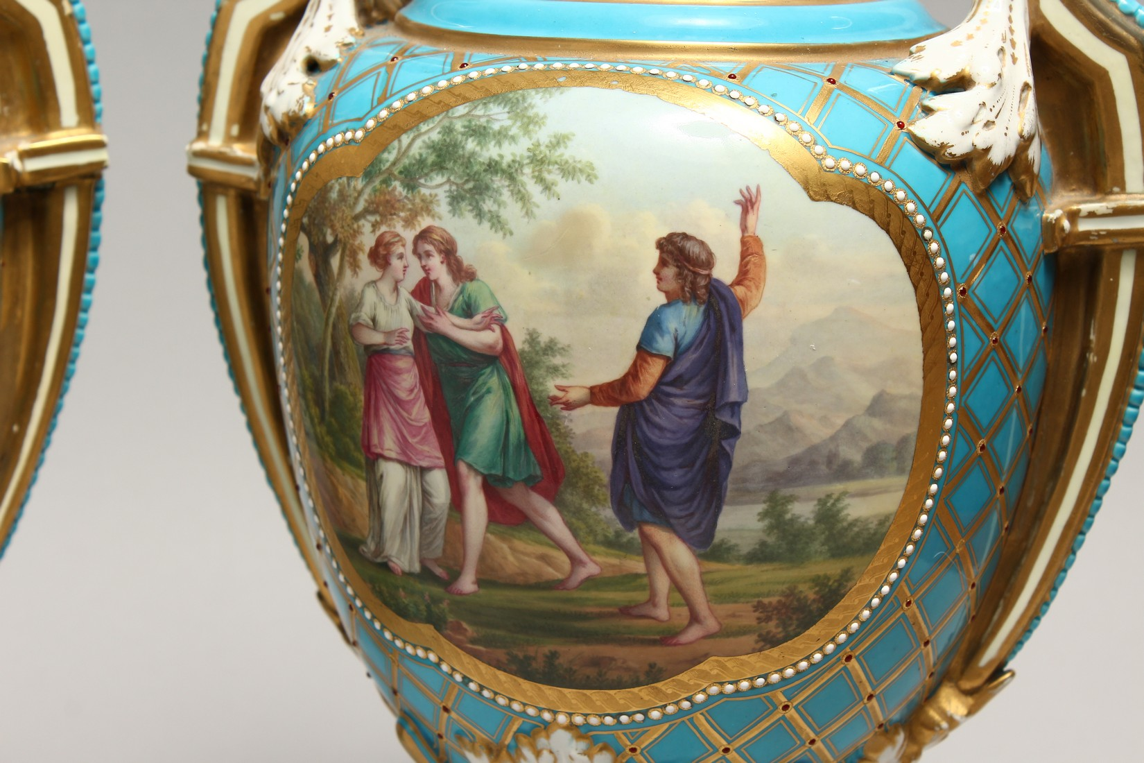 A SUPERB LARGE PAIR OF SEVRES TWO HANDLED URN SHAPED VASES AND COVERS, blue ground edged in gilt and - Image 3 of 10