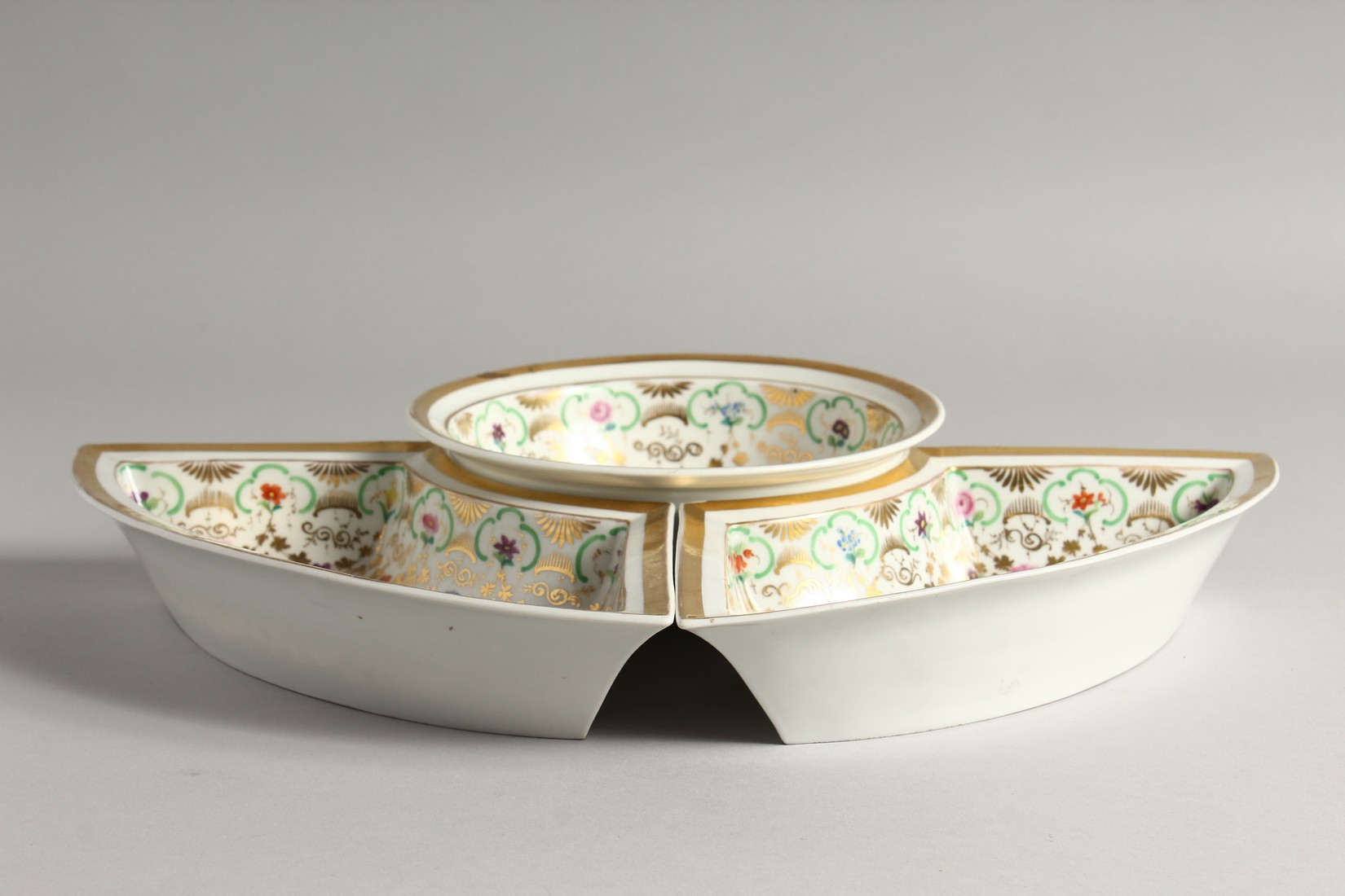 A K. P. M. PORCELAIN CIRCULAR BOWL with gilt decoration and painted with flowers. 7ins diameter - Image 2 of 9