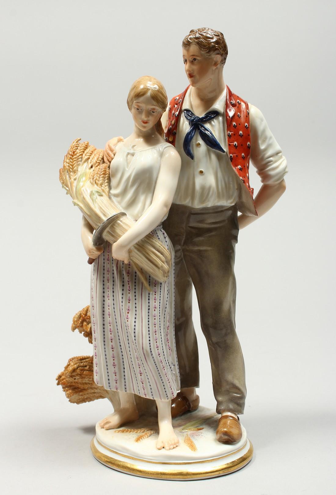 A GOOD MEISSEN PORCELAIN GROUP DEPICTING HARVEST, a pair of standing figures, a man beside a woman