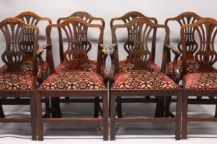 A VERY GOOD SET OF EIGHT HEPPLEWHITE MAHOGANY DINING CHAIRS, two with arms, with pierced vase