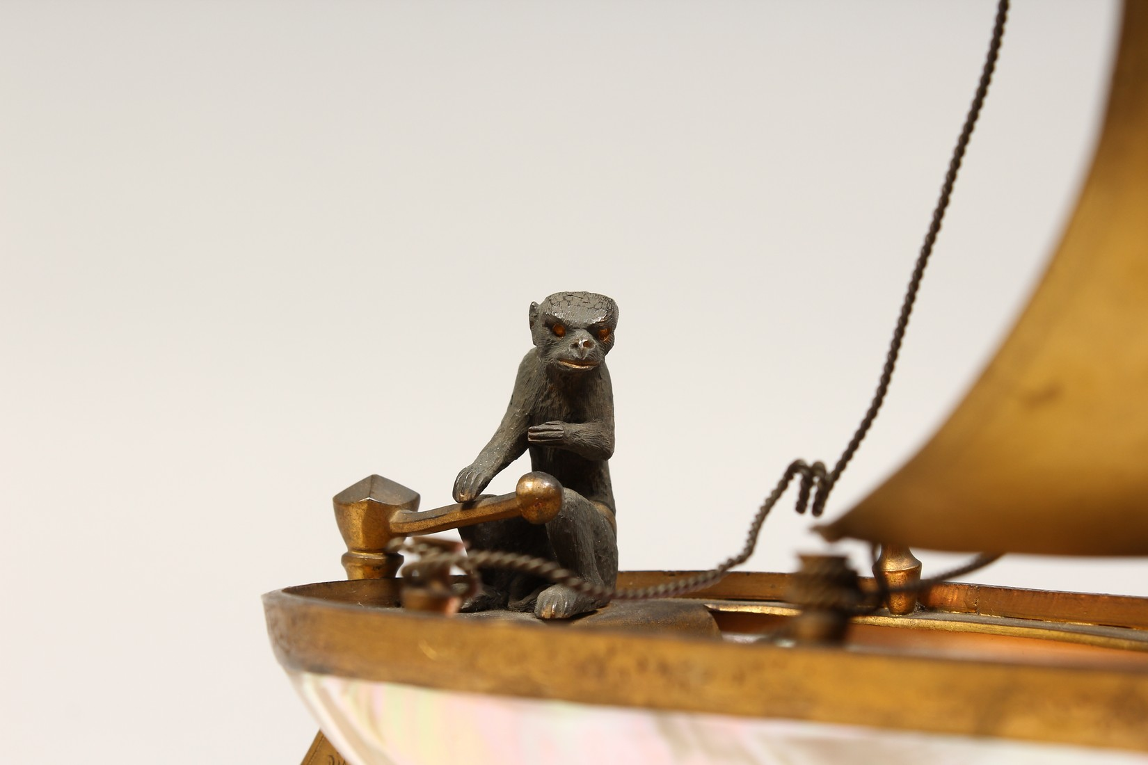 AN UNUSUAL LATE 19TH CENTURY FRENCH ORMOLU MOUNTED SHELL, mounted as a small sailing dinghy, a - Image 2 of 6