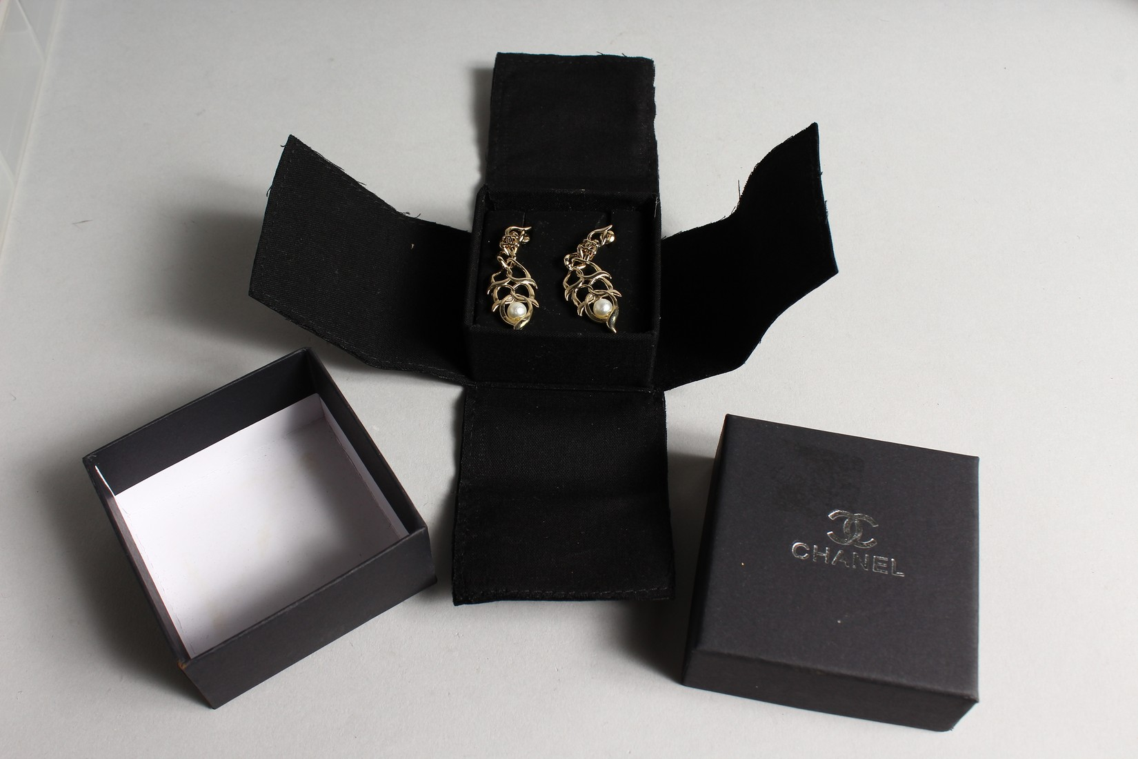 A PAIR OF CHANEL REPLICA EARRINGS in a box - Image 2 of 2
