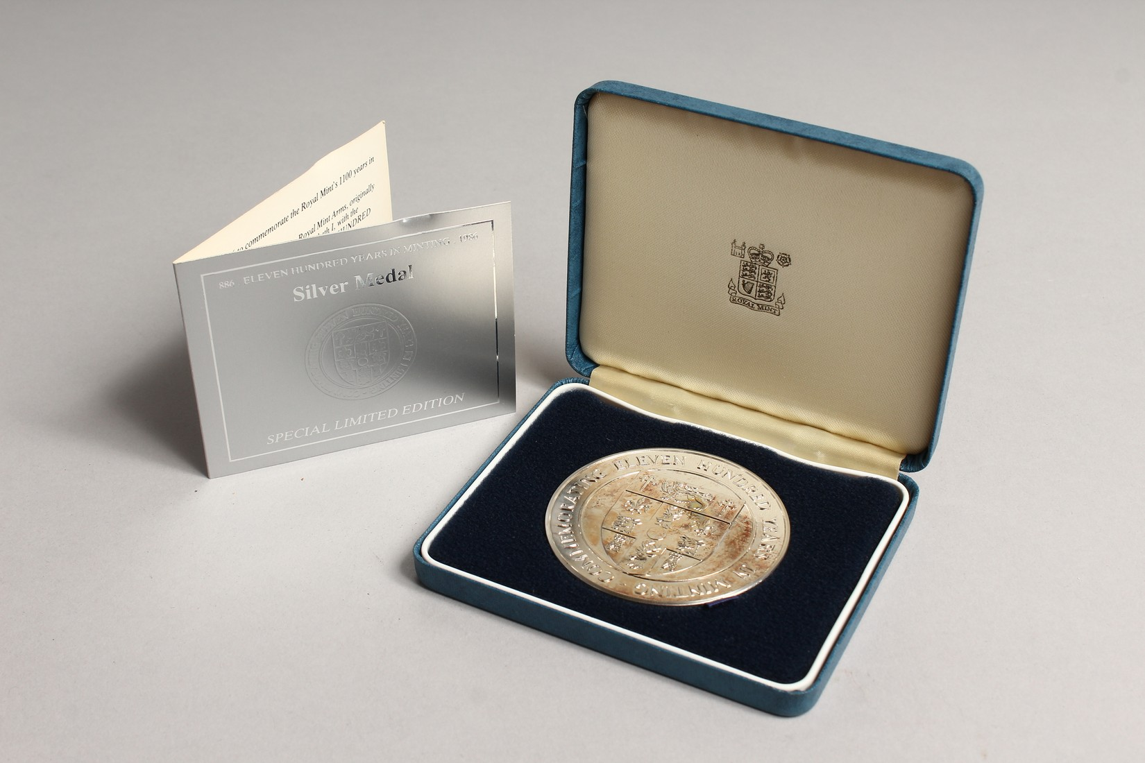 ONE HUNDRED YEARS IN MINTING, SILVER PROOF MEDALLION in a box issued by the Royal Mint, no.886 - Image 3 of 3