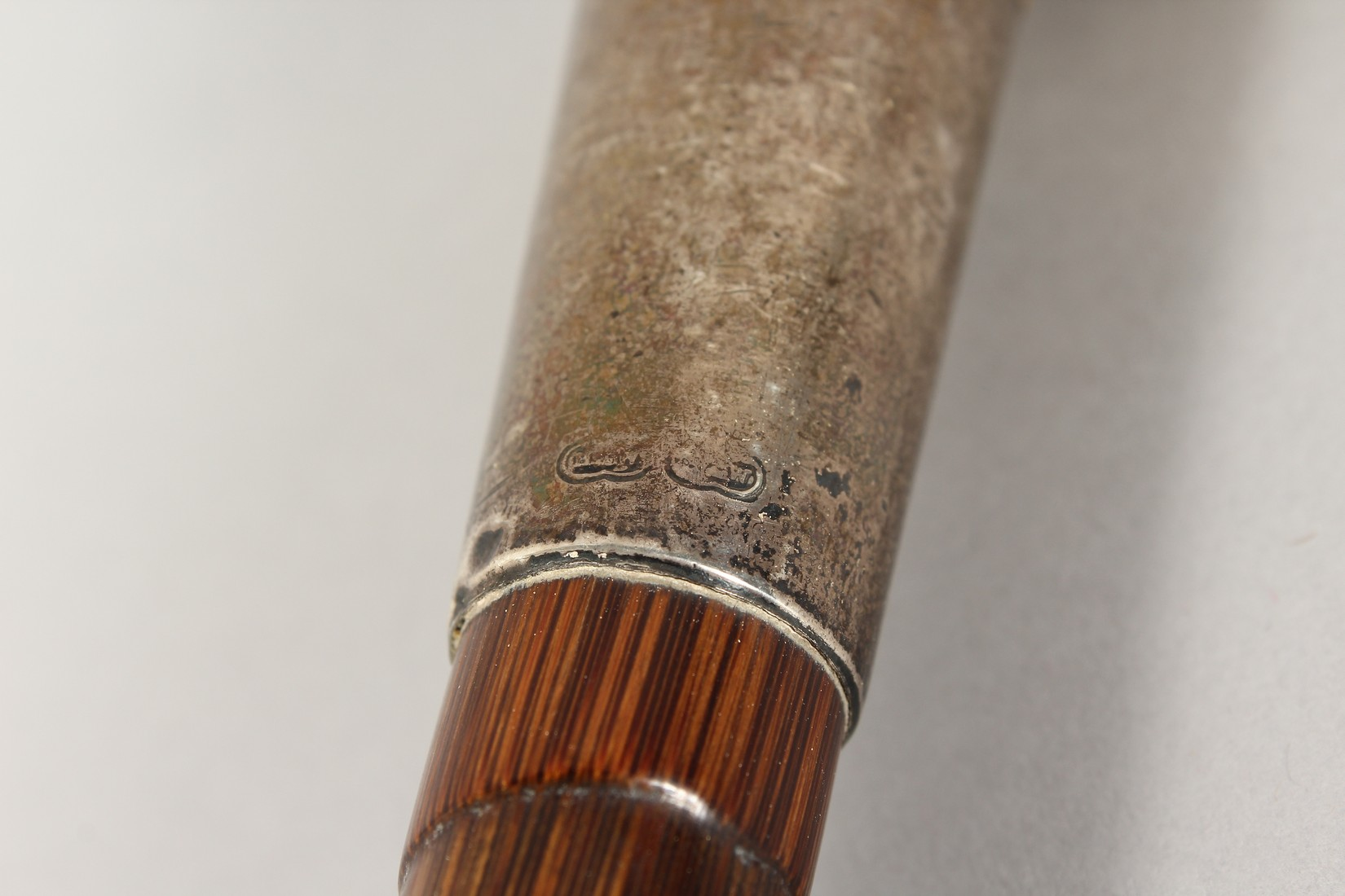 A GOOD VICTORIAN CARVED IVORY CLENCHED FIST HANDLE WALKING STICK with silver band. - Image 6 of 8