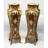 AN IMPRESSIVE PAIR OF FRENCH STYLE BURRWOOD, ORMOLU AND MARBLE PEDESTALS, in Louis XVI style. 4ft