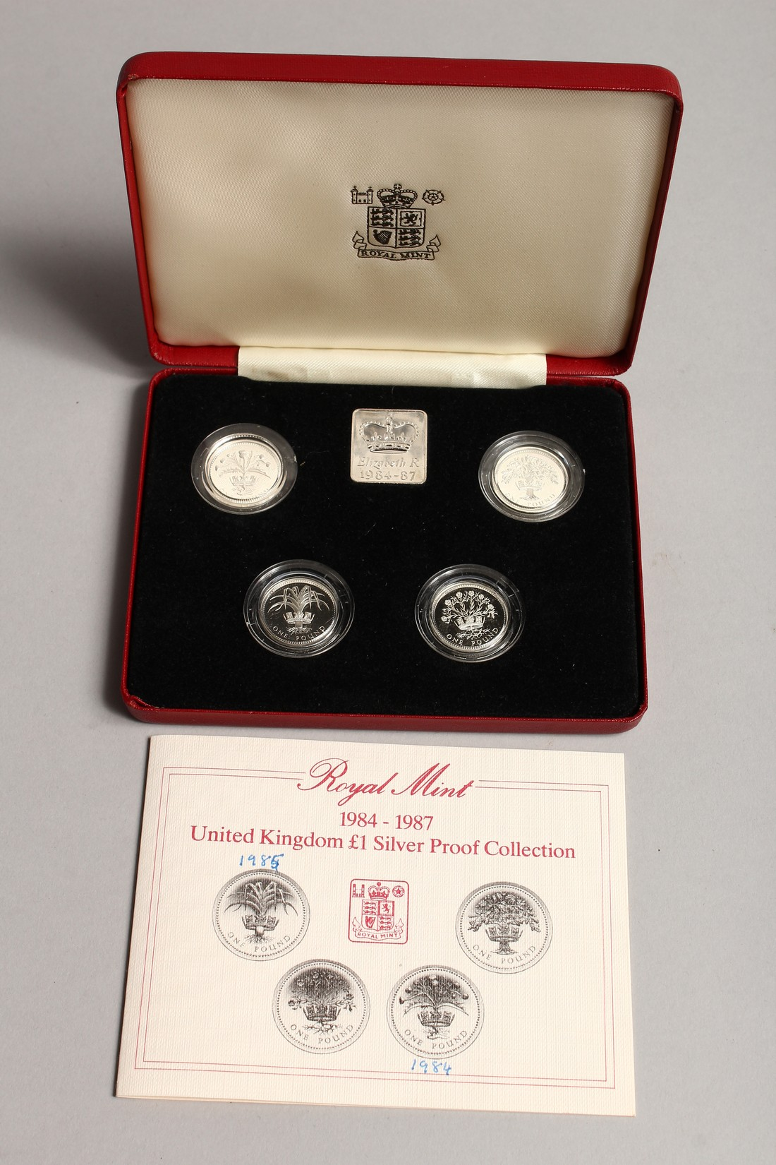 ROYAL MINT 1984 - 1987 UNITED KINGDOM £1.00 SILVER PROOF COLLECTION, in a case issued by the Royal - Image 2 of 2
