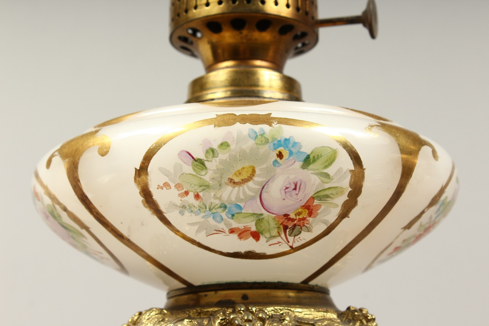 A SUPERB PAIR OF 19TH CENTURY FRENCH PORCELAIN AND GILT BRONZE LAMPS ON STANDS, painted with - Image 4 of 24