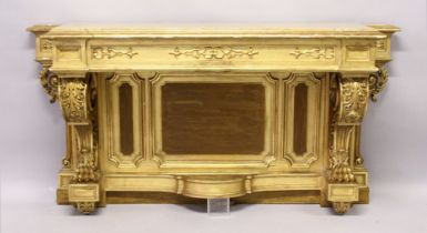 A SUPERB MATCHING 19TH CENTURY GILT WOOD CONSOLE TABLE with marble top, scrolling acanthus