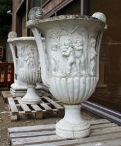 A VERY GOOD PAIR OF ITALIAN CARVED WHITE MARBLE CAMPAGNA TWIN HANDLED URNS, 4ft High.