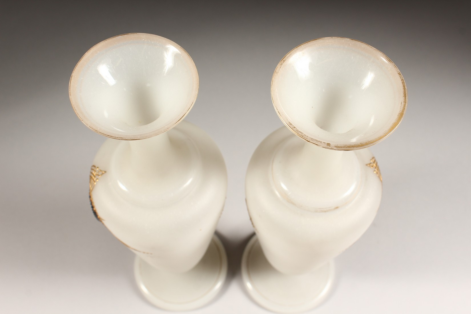 A PAIR OF CAMEO CLASSIC FROSTED VASES with a black cameo with gilt decorations 12ins high. - Image 5 of 10