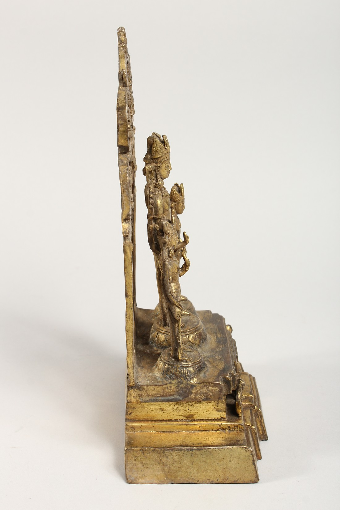 A CHINESE GILT BRONZE FIGURAL SHRINE 11ins high - Image 2 of 4