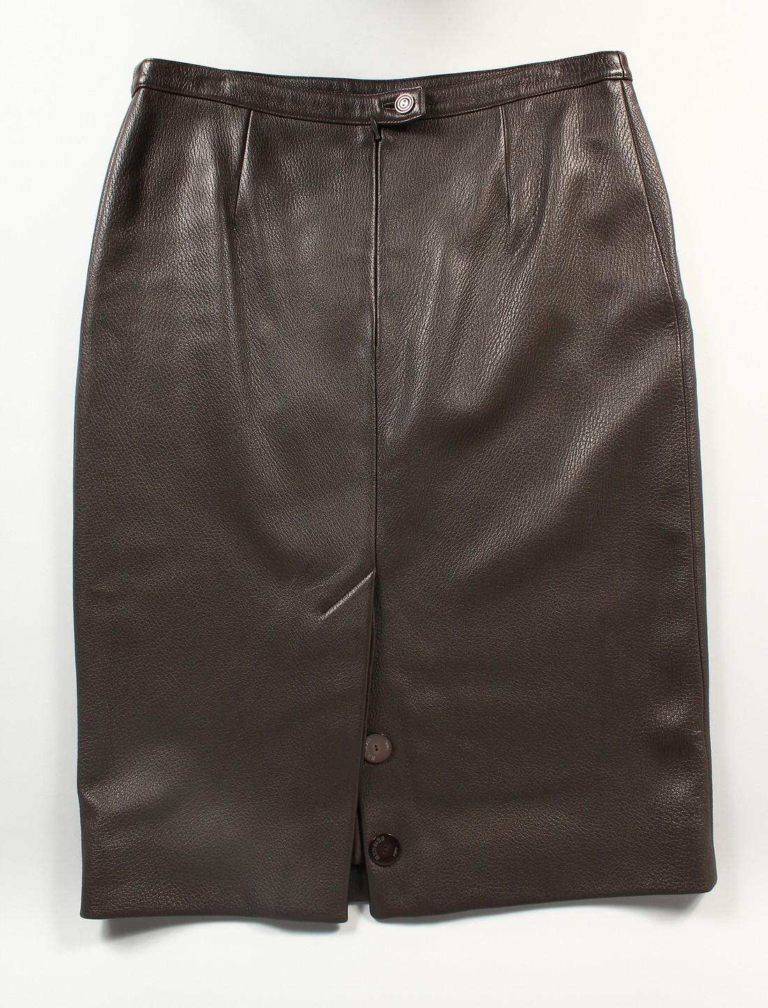 A HERMES LEATHER SKIRT, never worn.