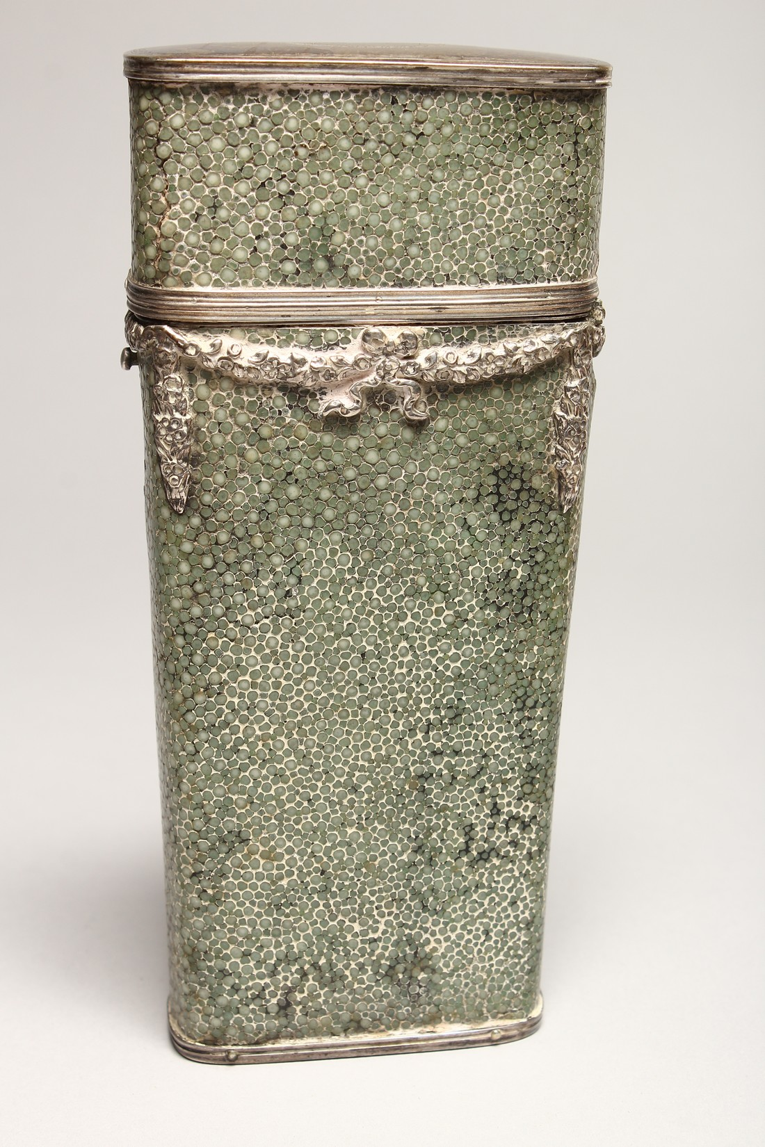 A GEORGIAN WHISKY FLASK in a shagreen case, with silver garlands 6.5ins long (some damage). - Image 3 of 8