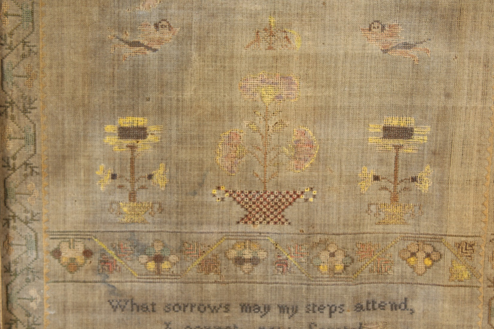 A 19TH CENTURY SAMPLER, depicting figures, flowers and a poem by Ann Powis dated 1837. 21.5ins and - Image 3 of 4
