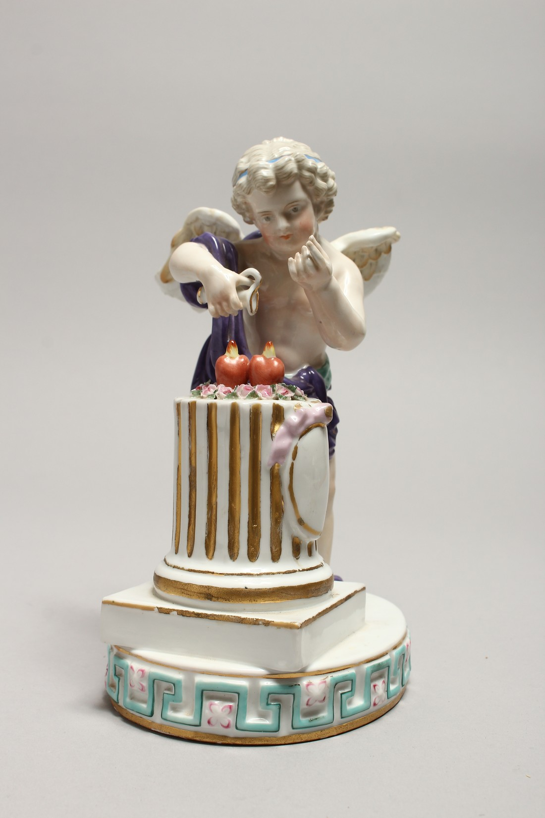 A DRESDON PORCELAIN GROUP, CUPID-LOVE, with two hearts on a pedestal. 8ins high. - Image 2 of 5