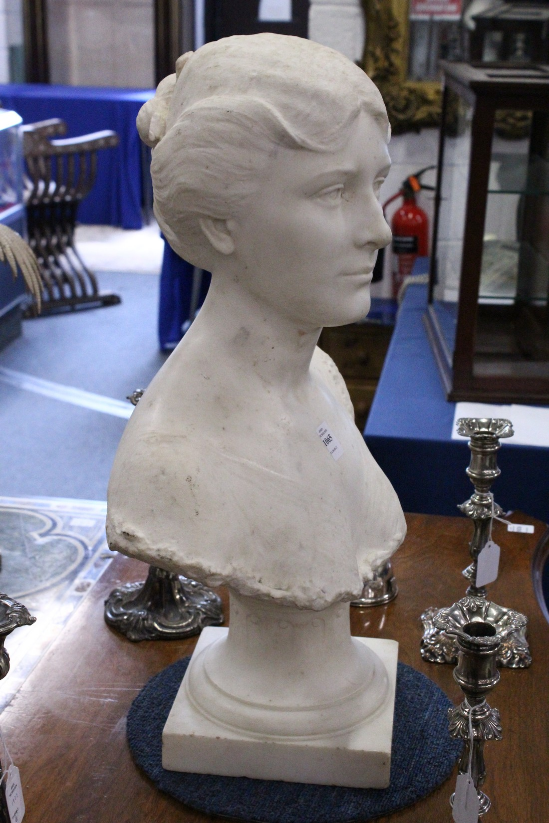 A GOOD 19TH CENTURY CARVED WHITE MARBLE BUST OF A LADY, ON A STAND. 2ft high. - Image 3 of 3