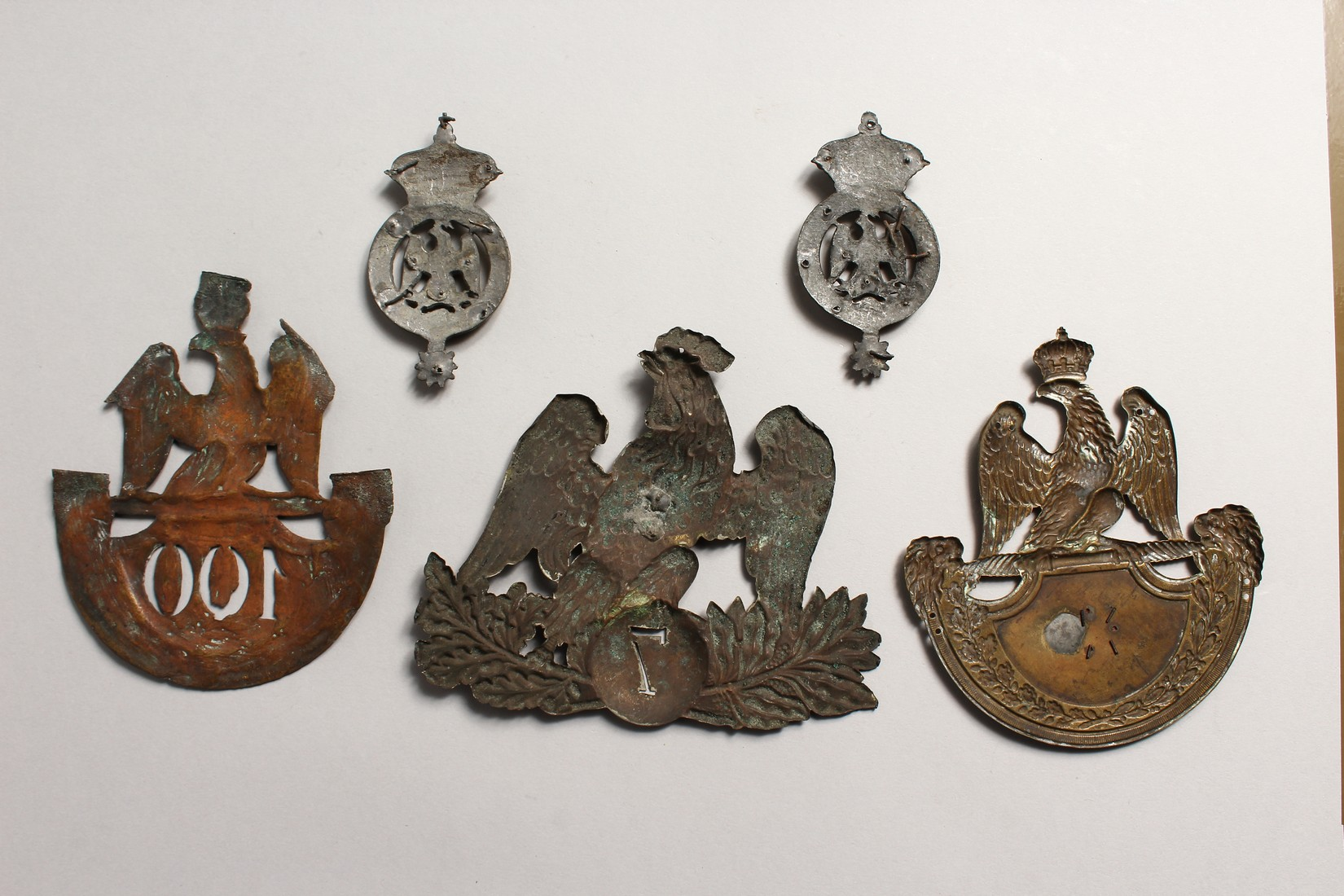 THREE LARGE NAPOLEONIC BRASS BADGES and two small badges. (5) - Image 2 of 2