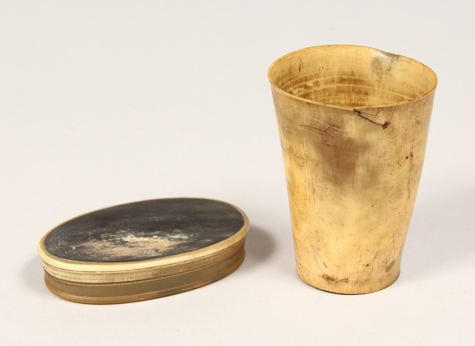 TWO OLD HORN PIECES