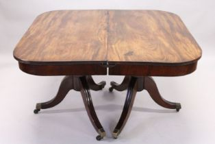 A GOOD GEORGE III MAHOGANY DOUBLE PILLAR DINING TABLE WITH TWO LOOSE LEAVES, reeded edge, turned