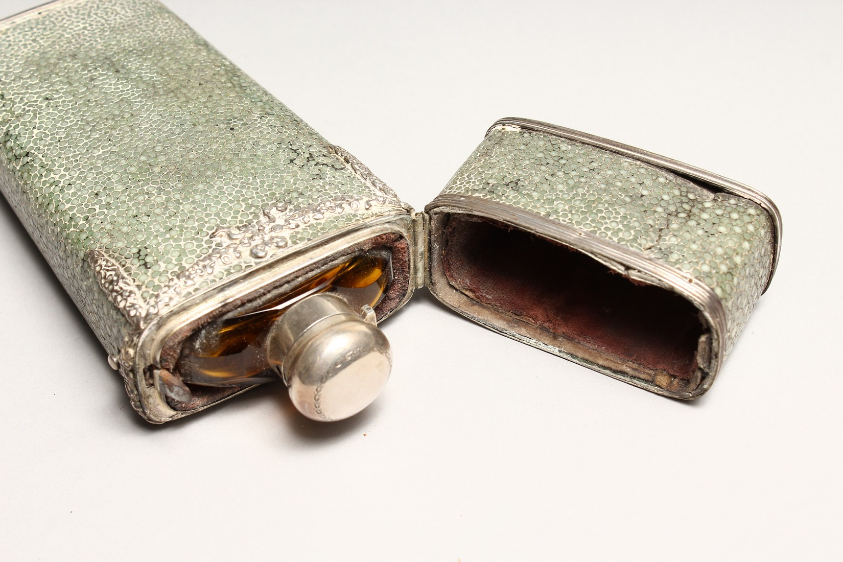 A GEORGIAN WHISKY FLASK in a shagreen case, with silver garlands 6.5ins long (some damage). - Image 8 of 8