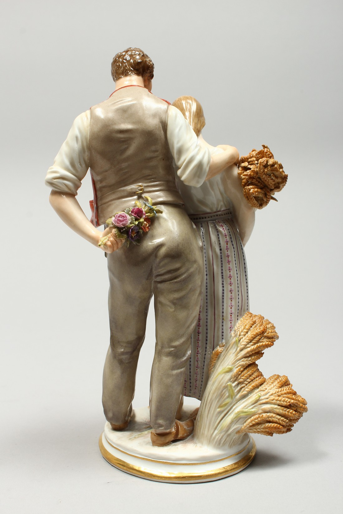 A GOOD MEISSEN PORCELAIN GROUP DEPICTING HARVEST, a pair of standing figures, a man beside a woman - Image 3 of 11