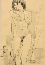 """Sydney d'Horne Shepherd, A study of a standing female nude, ink and wash, signed, 10"""" x 7""""."""