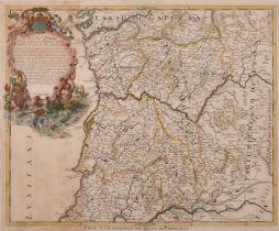 Domenico de Rossi, Circa 1692, 'Parte Settentrionale del Regno di Portogallo', a hand-coloured
