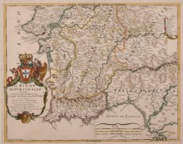 """Antonio Barbey, Circa 1692, 'Il Regno di Portogallo', a hand-coloured map, 17.5"""" x 22""""."""