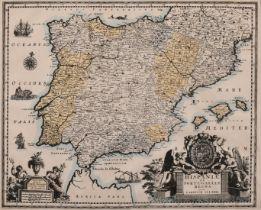 "Hispaniae et Portugalliae Regna per Carolum Allard, an antique hand coloured map, 17.75"" x 22""."