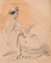 """19th Century English School, A study of a seated lady reading, watercolour, 7"""" x 5.5""""."""