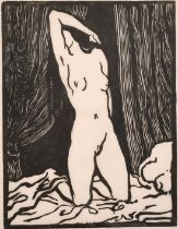 """Karl Thylmann, a woodcut of a kneeling female nude, signed in pencil and inscribed 'A.TH', 8"""" x 6""""."""