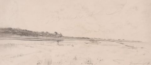 Johan Barthold Jongkind (1819-1891) Dutch, A sketch of an extensive landscape, pencil, signed and