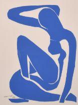 """After Matisse, a lithograph of 'Nu Bleu I', 23"""" x 17""""."""