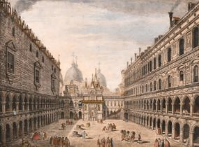 """A set of four hand-coloured engravings of Venetian scenes, each 10.5"""" x 14"""" (4)."""