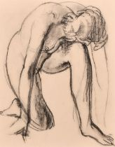 """Attributed to William Dennis Dring, A study of a kneeling nude figure, charcoal, 9.5"""" x 8""""."""