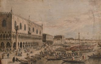 A group of three antique etchings of Continental views, and another of an Old Master scene (4).