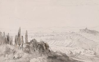 """Muirhead Bone, 'From Sienna Walls', pencil and wash, inscribed, 4.5"""" x 7"""", Provenance: T & R Annan &"""