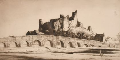 """Job Nixon, 'Glanworth Castle, Ireland', etching, signed, dated, and inscribed in pencil, 9"""" x 16"""","""