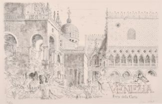 """John Stanton Ward, 'San Marco Piazzetta, Venice', etching, signed and numbered 31/250 in pencil, 15"""""""