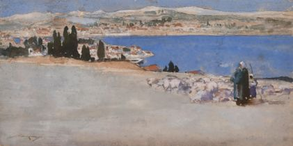 """William Lee Hankey, 'Grasse' a shepherd on a hilltop overlooking a bay, watercolour, signed, 4.5"""""""