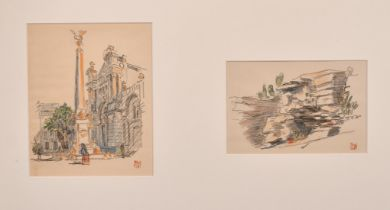 Early 20th Century, A set of four sketches of various scenes, all signed with an ink stamp, framed