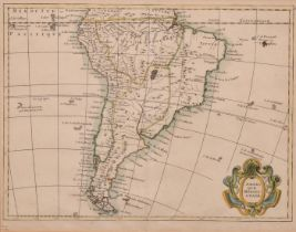 """South America map Amerique Meridionale Le Rouge, Circa 1756, hand coloured, 9"""" x 11""""."""