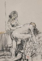Tom Coates, 'The Bathers', A study of two figures washing, charcoal and chalk, signed with monogram,