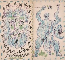 """After Picasso, a lithograph taken from publication 8.5"""" x 9"""", and a Matisse print of a bull,"""