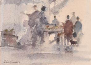 """Peter Gilman, 'Leadenhall Market, 1981', watercolour, signed, 4"""" x 5"""", along with an unrelated"""