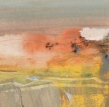 "Charles Duranty, 'Sunset over an Essex Field', watercolour, 5"" x 5"", provenance: Mansard Art"