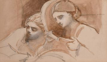 Attributed to Louisa Marchioness of Waterford, A sketch of a seated lady, inscribed 'Highcliffe July