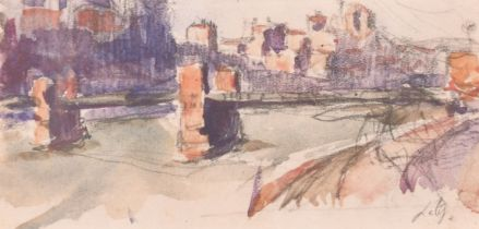 Hippolyte Lety (1878-1959) French, A pair of watercolour and pencil sketches of river scenes, one