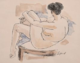 """Sydney d'Horne Shepherd, A mixed media study of a seated female nude, signed in pencil, 10.5"""" x 13."""
